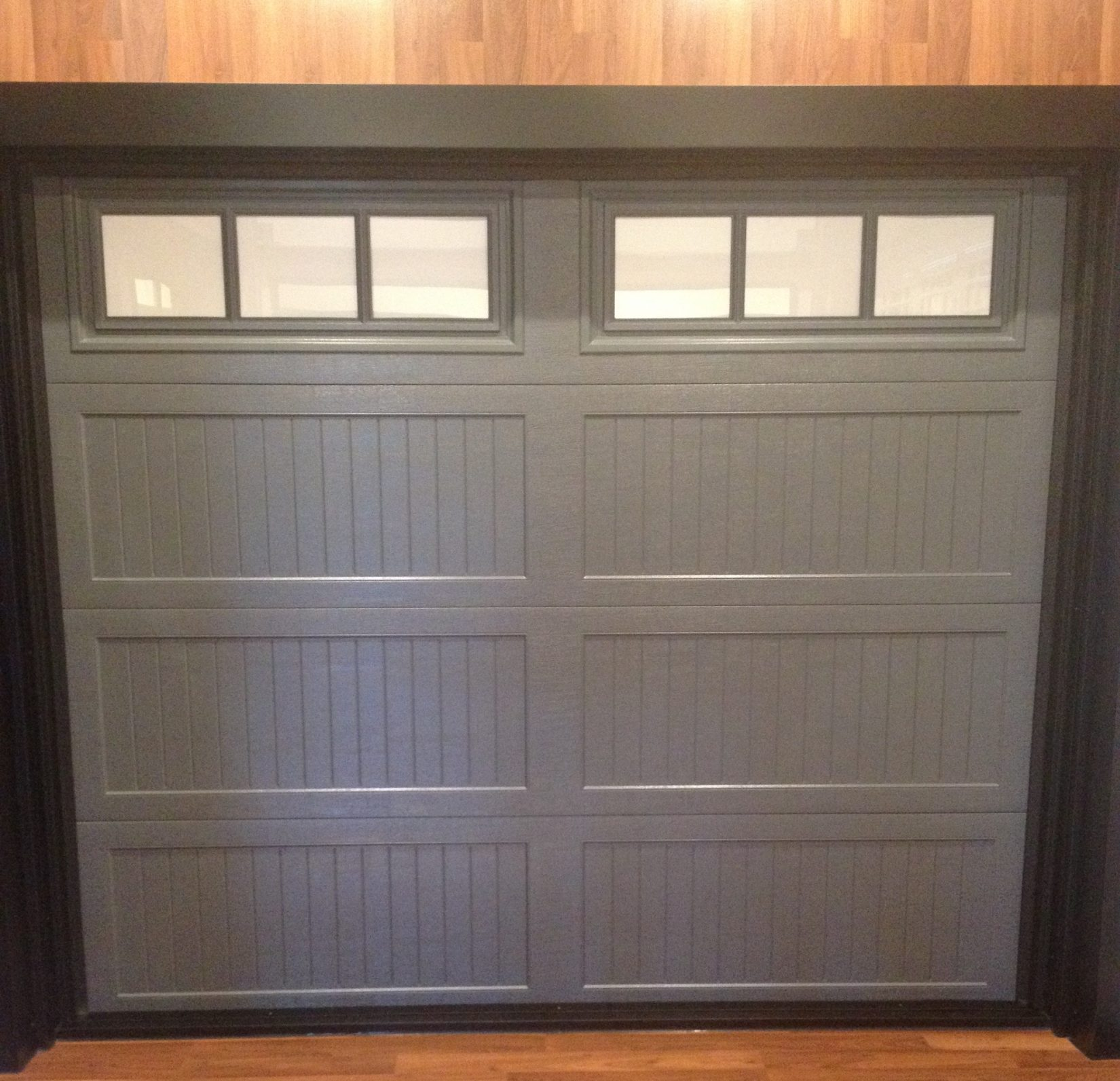 Hamilton door systems garage door repair service haas charcoal door ribbed long panel design with 3 pane windows rubansaba